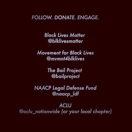 #repost @phantasmaphile ・・・ @blklivesmatter @mvmnt4blklives @bailproject @naacp_ldf @aclu_nationwide to name but a few worthy places to give your resources and help defend black life 🖤